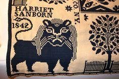 Blue White Harry Tyler Lion Woven Coverlet 1842 Harriet Sanborn Jefferson Co NY | eBay