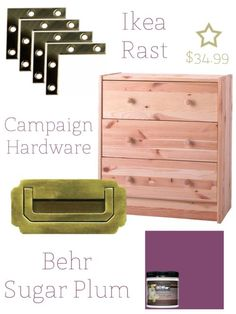 "Campaign Chest Shopping List: Ikea Rast 3 Drawer Chest ($34.99), 1 Quart High Gloss Paint (I used Behr in Sugar Plum which was $13), 3 Campaign Style Drawer Pulls, Product ID 6228 ($33 including shipping), 3 Packages of 2″ Brass Flat Corners, four to a pack ($7.50), 2″ Angled Paint Brush, 2 oz. tube of Elmer's Wood Filler Max, Sanding Sponge, Drill.   See the step-by-step ""how to"" on the website!"