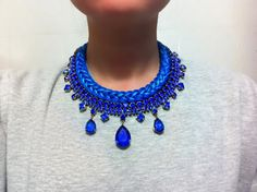 Hey, I found this really awesome Etsy listing at https://www.etsy.com/listing/194013594/electric-blue-statement-necklace