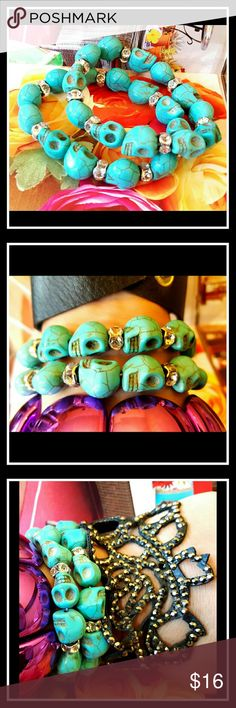Turquoise Skull & Rhinestones lot 2 For sale today is : Semi precious turquoise howlite carved nice sized skull beads and rhinestone spacer stretch bracelets set of 2   Beautiful condition   Fun facts:   Spiritually, howlite is a stone of awareness. It can prepare the user or wearer to receive wisdom and attunement from the Higher Self and the Divine. It is also used for dimensional travel and healthy meditation. boutique Jewelry Bracelets