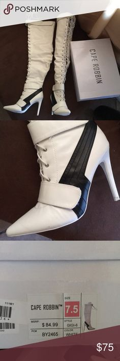 Long boots Long white boots Cape Robbin Shoes Heels