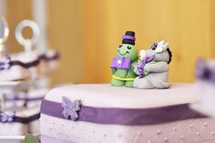 Cake topper zoo wedding purple