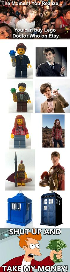 Lego Doctor Who http://www.etsy.com/shop/DandyLikeALion?section_id=13687361