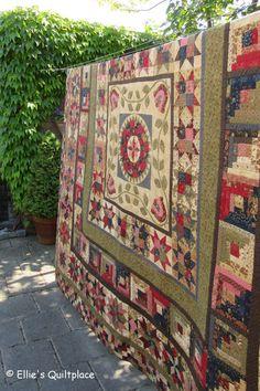 De quit is gemaakt met de stoffen van Barbara Brackman, Ladies' Album voor Moda.  The quilt is made using Barbara Brackmans' Ladies' Album fabrics by Moda.