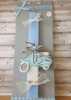 Χειροποίητη αρωματική λαμπάδα σιελ χρώματος με θαλασσί ξύλινη βέσπα, εκρού ύφασμα δεμένη σε ξύλινο γκρι καδράκι. Bottle Opener, Greek, Easter, Candles, Wall, Easter Activities, Candy, Walls, Candle Sticks
