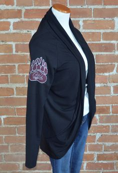 Team 44 Apparel - UNIVERSITY OF MONTANA, COCOON CARDIGAN with Nailhead Griz Paw Logo