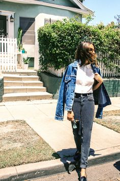 """1 Vintage Aficionado, 5 Fresh Ways To Wear Denim #refinery29  http://www.refinery29.com/how-to-style-denim#slide7  Would you say you have a style uniform?   """"My 'uniform' is a vintage white tee, old Levi's®, and a pair of Celine slip-ons or Nike trainers. This denim jacket is my boyfriend's, but it totally fits my aesthetic, so I end up wearing it as often as he does. A lot of the time, when I see my grandma (who's 95), I find that we're wearing very similar outfits. I think it's really cool…"""