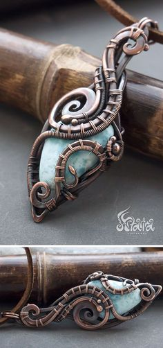 Steampunk copper pendant with blue larimar #jewelrynecklaces