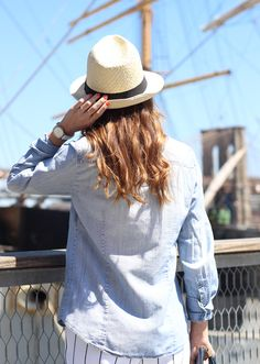 The Steele Maiden: Nautical Style with Talbots Pinstripe Wide Leg Pants and Straw Fedora at South Street Seaport, NYC