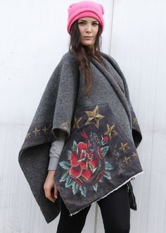 Poncho Customized Rose and Stars: RUDE RIDERS, Hollywood California