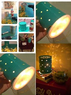 DIY Tin Can Lamp | DIY Cozy Home Rustic Lighting, Lighting Ideas, Lighting Design, Pendant Lights, Pendant Lamp, Project Yourself, Closet Lighting, Light Project, Light Decorations