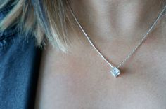 Crystal Cube Necklace sterling silver by RabbitsFantasyWorld