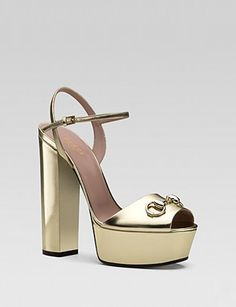 GUCCI Claudie Patent Ankle Strap Chunky High Heel Sandal