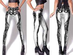 Skeleton Print Leggings – Lotus Leggings - white on black - skin tight - style - black skeleton - black shoes - halter top