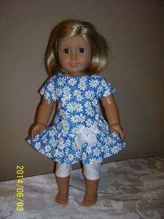Cute blue daisy long waisted dress with ruffle and white leggings. (Simplicity 1484) 6/14  SOLD