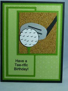 Stampin Up Handmade Greeting Card: Happy Birthday Card, Golf, Golfing, Golfer… Golf Birthday Cards, Birthday Greeting Cards, Birthday Greetings, Bday Cards, Masculine Birthday Cards, Masculine Cards, Handmade Greetings, Greeting Cards Handmade, Sorry Cards