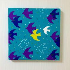 北欧birdのファブリックパネル *ターコイズ*---------------------------------------- 鳥としずくが描かれた鮮やかな...|ハンドメイド、手作り、手仕事品の通販・販売・購入ならCreema。