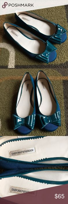 Emporio Armani ballet flats🌿 Royal blue canvas ballet flats with bluish green patent leather bows🌿materials are leather and canvas🌿 EUC please see pics Emporio Armani Shoes Flats & Loafers