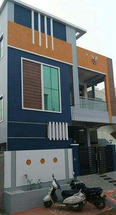 Exterior Paint Colors For House Ideas Bedrooms Ideas 3 Storey House Design, Bungalow House Design, Modern House Design, Modern Bungalow Exterior, Front Elevation Designs, House Elevation, Building Elevation, Elevation Plan, House Front Wall Design