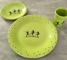 Fiesta Chartreuse MYSTIQUE DANCING STARS--Dinner Plate Salad Plate u0026 Tumbler & Fiesta Bumble Bee Yellow / Black 4 Piece Dinnerware Set by Homer ...