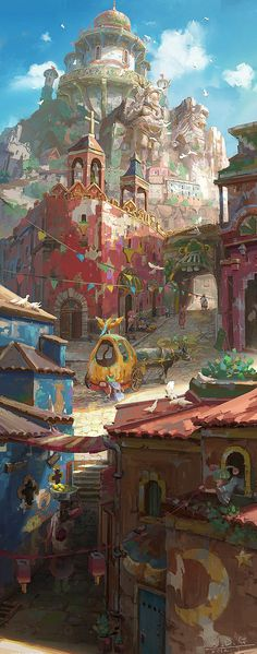 A beautifully rich palette of pastel colors lends a whimsical mood to a cityscape concept that wonderfully utilizes techniques of fore-, middle-, and back- ground tonal shifts | Concept Art by Rui Wang.