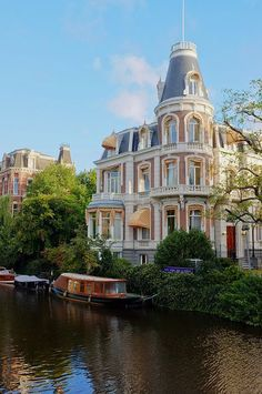 house by the canal in Amsterdam