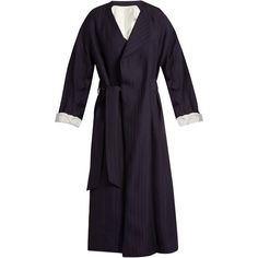 Acne Studios Oceane shadow-striped robe coat ($1,035) ❤ liked on Polyvore featuring outerwear, coats, acne, navy, stripe coat, black and white striped coat, navy blue coat, striped coats and acne studios
