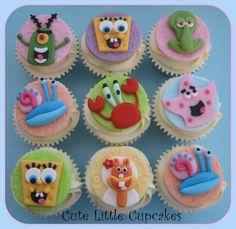 How To Decorate Spongebob Cupcakes | Raspberry & White Chocolate cupcakes topped with handmade 'Spongebob ...