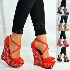d0d571325f47 Ladies Womens Floral Wedge Platforms High Heels Ankle Strap Shoes Size Uk 3- 8