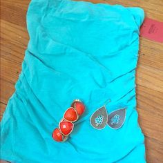 NWT! Turquoise tube top NWT!! Size XS tube top. Super cute & perfect for spring break or summer vacation!! Has ruched sides. Mossimo Supply Co Tops Camisoles