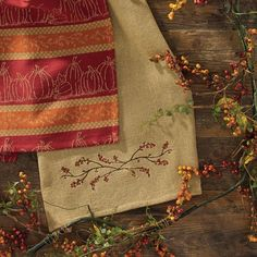 """Add a fun touch of harvest and Thanksgiving themes with simple additions to enliven your country or primitive farmhouse decor. (Dishtowel shown on bottom). Measures 28"""" x 19"""". Sold individually. #autumn #fall #harvest #kitchen #dishtowel #decor"""