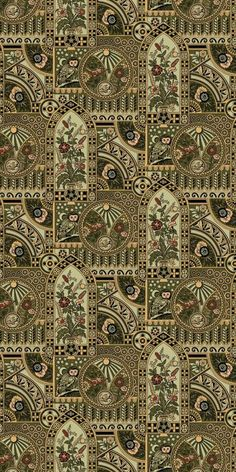 Anglo-Japanese style of wallpaper - Nocturnal Owl - Historic Wallpapers - Victorian Arts - Victorial Crafts - Aesthetic Movement - ~ Motifs Textiles, Textile Prints, Textile Design, Fabric Design, Pattern Design, Pattern Art, Of Wallpaper, Pattern Wallpaper, Interiores Art Deco