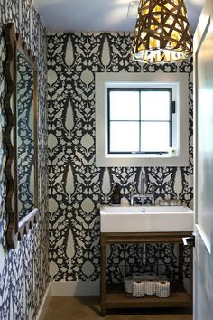 1/2 bath. Schumacher CHENONCEAU CHARCOAL Wallpaper - I have pinned this fabric too. LOVE it.