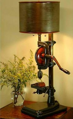 Old drill press to cool lamp.