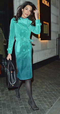 Amal Clooney seen leaving Roka restaurant in London