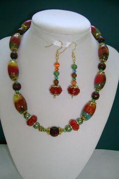 Fall Autumn Necklace Bracelet Earrings Set. Clay by MyGrandmasHome