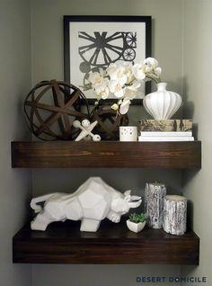 DIY Floating Shelves >> http://blog.diynetwork.com/tool-tips/2013/02/13/find-your-diy-bathroom-inspiration/?soc=pinterest#