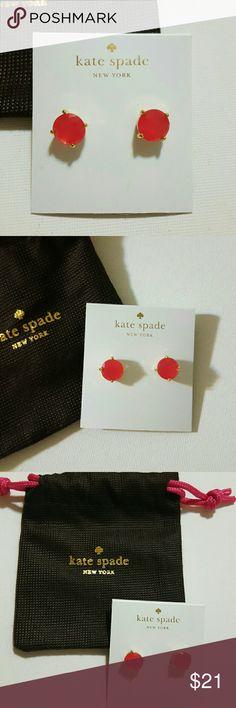 Kate Spade Earrings NWT Sweetheart Pink Studs set in gold plated  Dust Bag Post kate spade Jewelry Earrings