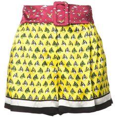 Mary Katrantzou Horse Print Shorts (1,230 CAD) ❤ liked on Polyvore featuring shorts, color-block shorts, patterned shorts, pocket shorts, print shorts and tie-dye shorts
