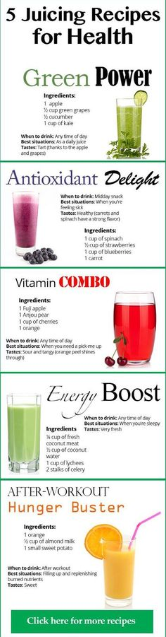 5 Juicing recipes for health         Read: Best Juicing Recipes Helps You Lose Weight     Recommendations:    Ways for Weight Loss with Jui...