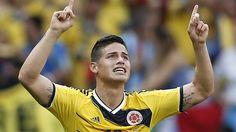 James Rodriguez comemora primeiro gol da Colômbia