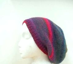 Beanie Beret Slouch Colorful wool blend knitted Hat by CaboDesigns, $26.00