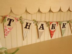"""Wedding Bunting """"THANK YOU"""" -Coral Red, Creams and Grey Banner - Decoration"""