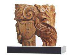 Diana, the God of hunt! Enrica Barozzi's art - wood sculptures, cm 16x16
