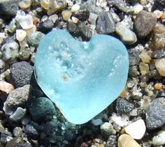 heart made from sea glass ~ lovely color!