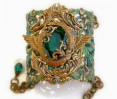 LeBoudoirNoir on Etsy - Verdigris Patina Cuff Bracelet w Emerald Jewel and Swarovski Crystals