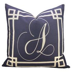 Personalized Ava Pillow in Navy & White