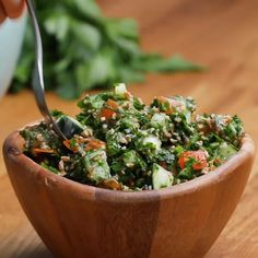 Tabbouleh Recipe by Tasty Veggie Recipes, Salad Recipes, Cooking Recipes, Healthy Recipes, Vegetarian Recipes Videos, Recipes Dinner, Easy Recipes, Healthy Salads, Healthy Eating