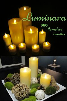 a new favorite of mine - flameless candles that look good from any angle.  The Luminara 360 candles feature a flame that is designed so that the candlelight is visible from all sides.  IMO, a must have for centerpieces but they also look good against a vertical surface.