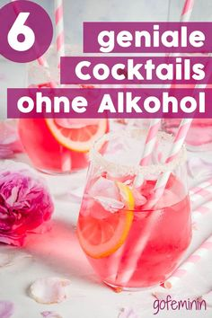 These non-alcoholic cocktails are perfect for gin and tonic fans! - Angesagte Drinks // Cocktail-Rezepte - Drinks and Cocktails Mojito Cocktail, Sour Cocktail, Cocktail Recipes, Sangria, Non Alcoholic Cocktails, Summer Cocktails, Sweet Cocktails, Healthy Cocktails, Drinks Alcohol